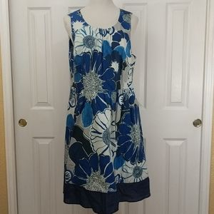 ModCloth blue and gray flower dress size 2X